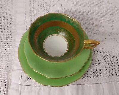 Antique Royal Stafford Green Gilded Fine bone china cup With Mis-Matched Plates