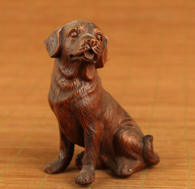 rare old chinese Boxwood hand carving dog good stand statue Pendant netsuke