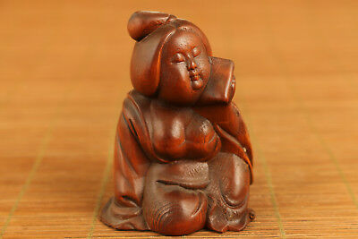 Antique chinese Boxwood hand carving belle figure statue Pendant netsuke