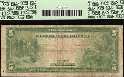 LARGE 1914 $5 DOLLAR BILL FEDERAL RESERVE NOTE OLD PAPER MONEY Fr 883a PCGS