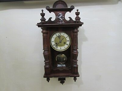 Antique Petite HAC Spring Driven Vienna Style Wall Clock Working Spring Slipping