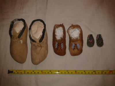 3 Vintage Pairs Of American Indian Moccasins.