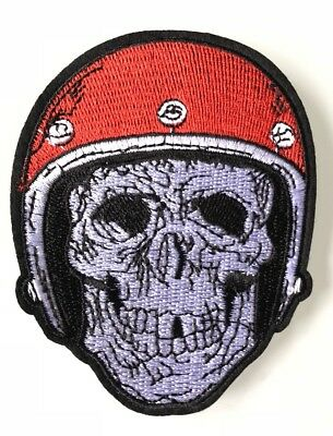 Ecusson Patch Brode Thermocollant Tete De Mort Casque Moto Biker Skull !!