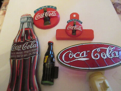 vintage lot of coca-cola magnets and tin, night lite