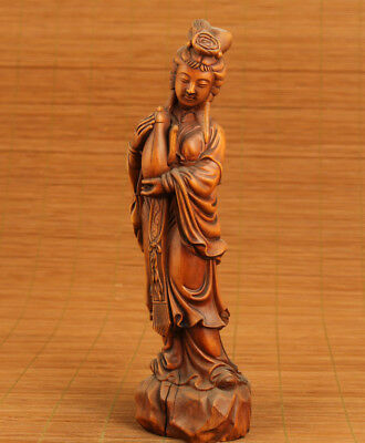rare old chinese Boxwood hand carving Belle art girl Tea Pot statue home decorat