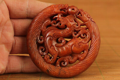 unique chinese old jade hand carved kylin dragon statue pendant