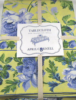 APRIL CORNELL Pink Yellow AQUA ZINNIA FLORAL COTTON TABLECLOTH Assorted Sizes
