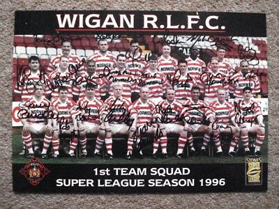 Wigan Warriors Team Photo Signed Super League 96