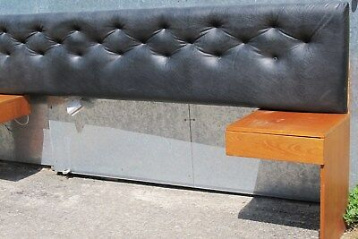 Double Headboard Black and Wooden Side Tables Retro Vintage