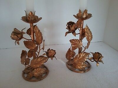 VINTAGE TOLE Gilt Gold ROSE Italian Style PAIR CANDLE HOLDERS