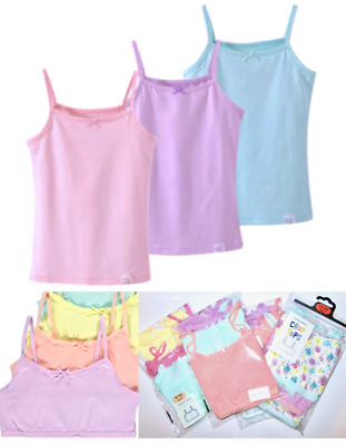 Kids Girls Sleeveless Short Crops, Camisoles 3 Vests Pack 100% Cotton 3 to 10YRS
