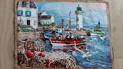 """Handworked completed  tapestry """"LIGHTHOUSE"""" 50cm x 36cm (approx 19""""x14"""")"""