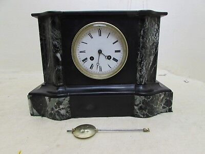 Antique Japy Freres Med D'Honneur Striking Black Slate & Marble Mantle Clock