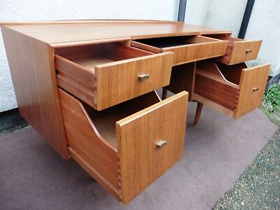 Danish Look Vintage Retro 5 Drawer Knee Hole Writing Desk, Table, Curve Front.