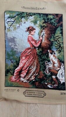 """Handworked completed  tapestry """"GIRL CARVING TREE"""" 35cm x 46cm (approx 14""""x18"""")"""