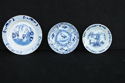 Three antique Chinese mini plates / Saucers Kangxi and later
