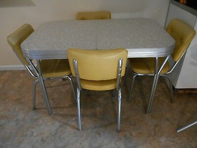 MID CENTURY MODERN CHROME AND FORMICA 5 PC DINETTE SET 1950's VG COND