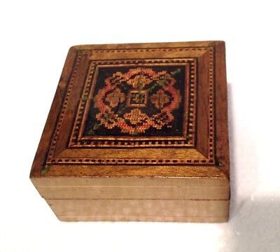 Antique Tunbridge ware Box, Treen wood ware Stamp Box Italian