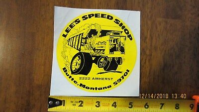 Vintage 1970's Lee's Speed Shop Butte Montana Sticker NOS Very Nice