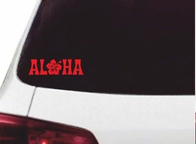 RED - ALOHA Funny Vinyl Sticker, Car Window, Wall, Hawaiian Flower