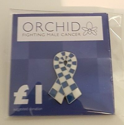 """Brand New & Sealed """"ORCHID Fighting Male Cancer"""" Pin Badge (SAME DAY DISPATCH)"""