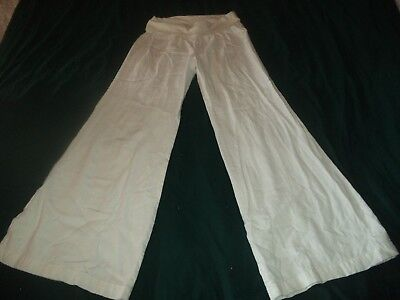 Old Navy women Maternity rayon blend solid white casual wide leg pants-size S