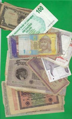 WORLD MIX>GERMANY,JAPAN,ETC.. ~ 25 x PAPER MONEY LOT # 2332 (*-*) POOR CONDITION