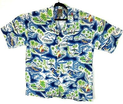 7b5c60bd Pineapple Connection Vintage Hawaiian Shirt Men's XL Blue Green Island  Sailing
