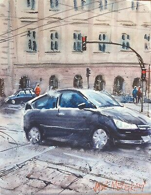 "Poland, Cityscape  Watercolor Painting Art Original 8"" X 10"" NOT A PRINT"