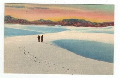 NM Alamogordo New Mexico 1948 Linen Post Card White Sands National Monument