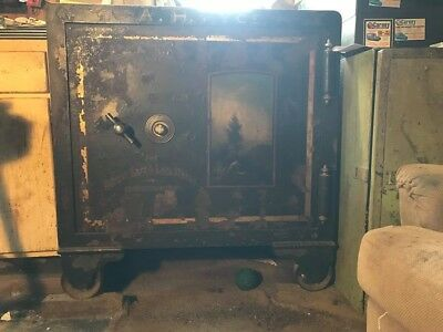 Antique Cast Iron Floor Safe In Working Condition