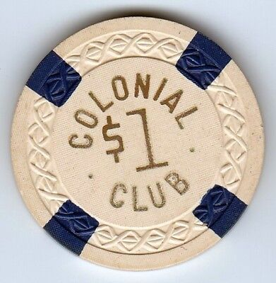 $1 Colonial Club Chicago, Il Weave Mold Casino Chip-Illegal Club