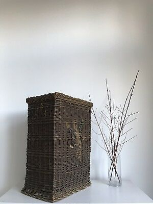 Early 20th Century Laundry Wicker Basket With Decorative Wooden Floral Carvings