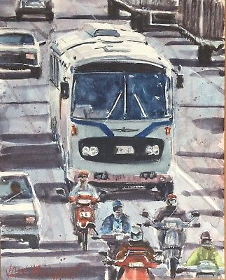 "China 1980's  Watercolor Painting Art Original 8"" X 10"" NOT A PRINT"