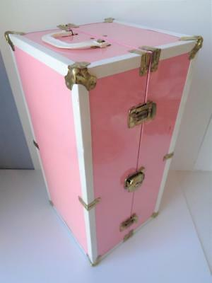 "Vintage 1950s Pink Metal Doll Trunk LARGE for 18"" Margaret Toni Nanette Nancy"