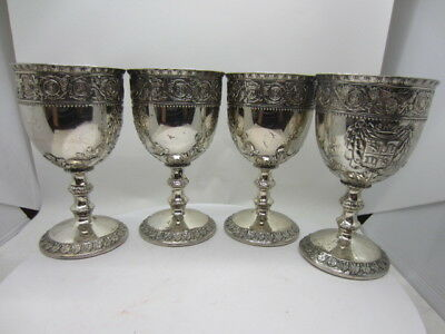 vintage old small metal Cordial Goblet chalice medieval style castle mark