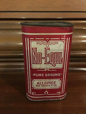 Vintage No Equl Allspice Spice Tin Behring Stahl Coffee Co MO cardboard paper