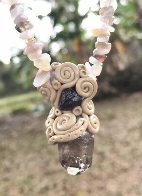 Fluorite, Agate & Smoky Quartz Point Crystal Healing Energy Pendant