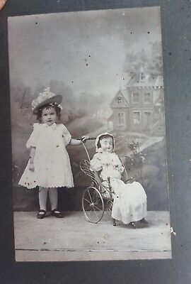 RARE very Large Antique Doll in carraige Photo photograph Cabinet Card CDV PA