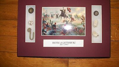 Original Civil War Bullets Relics in Matted Display Case (7 Piece) with COA