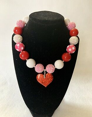 Pink White Red Valentine Day Chunky /Bubblegum Necklace ,Baby/ Girl Necklace