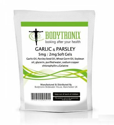 Garlic and Parsley Capsules 5mg/2mg Cholesterol Health Pills Antioxidant- UK