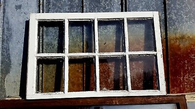 Architectural Salvage ANTIQUE WINDOW PANE FRAME RUSTIC 8 PANE 36x23 HOME DECOR