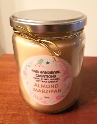 ONE(1) 100% ORGANIC SOY-VEGETABLE BLEND-ALMOND MARZIPAN- 16oz CANDLE !!