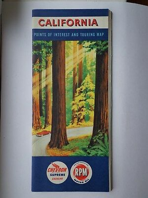 Chevron Gasoline California 4 x 9 Fold Out Road Map & Points of Interest 1950