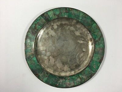 Mexican Los Castillo Silver Plate and Stone Tray:  Mid Century Modern Taxco