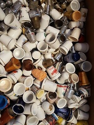 HUGE LOT of Hundreds of Vintage Thimbles Ceramic Metal 12 Pounds