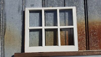 Architectural Salvage ANTIQUE WINDOW PANE FRAME RUSTIC 6 PANE 28X24 THICK GRIDS
