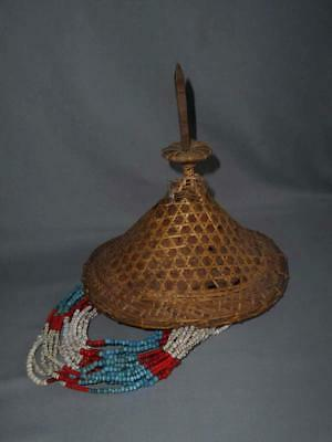 Old Bhutan Tibet TOP RARE AGED USED LAYAP TRIBE WOMANS HAT WITH GLASS BEADS