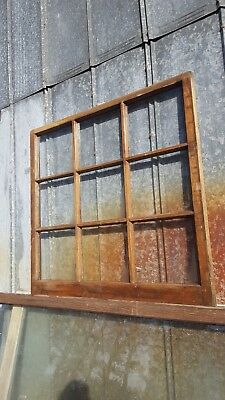 Architectural Salvage ANTIQUE WINDOW PANE FRAME RUSTIC 9 PANE 35X24 BEAUTIFUL